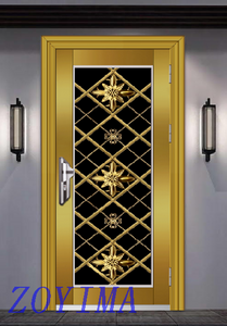 Z0YIMA/ G & K Great Door - Toughened Wrought Stainless Steel Glasses Golden Color Door ZYM-S101